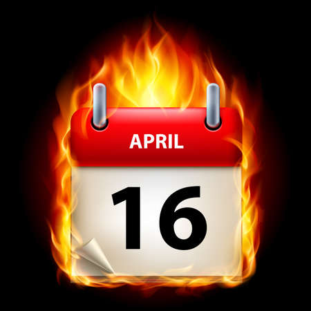 sixteenth: Sixteenth April in Calendar. Burning Icon on black background