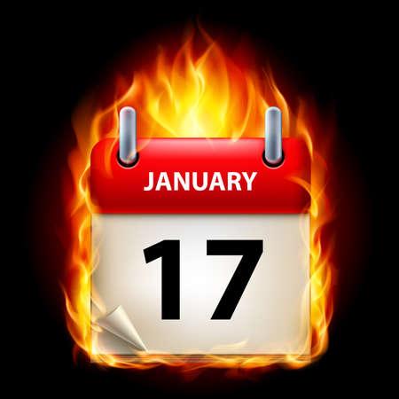 månader: Sjuttonde januari kalendern. Burning ikon på svart bakgrund