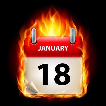 cutoff date: Eighteenth January in Calendar. Burning Icon on black background