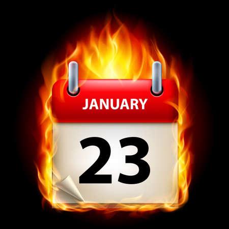 Twenty-third January in Calendar. Burning Icon on black background Vector