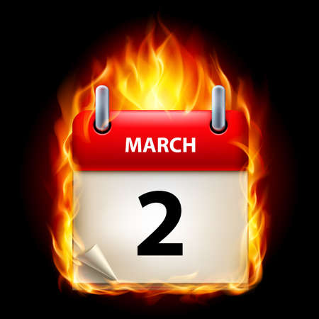 Second March in Calendar. Burning Icon on black background Vector
