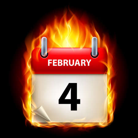 Fourth February in Calendar. Burning Icon on black background Stock Vector - 15136623