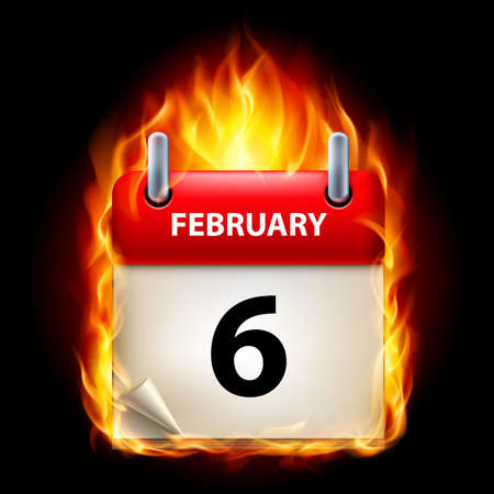 Sixth February in Calendar. Burning Icon on black background Stock Vector - 15136624
