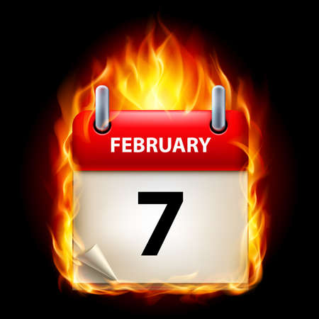 Seventh February in Calendar. Burning Icon on black background Stock Vector - 15136619