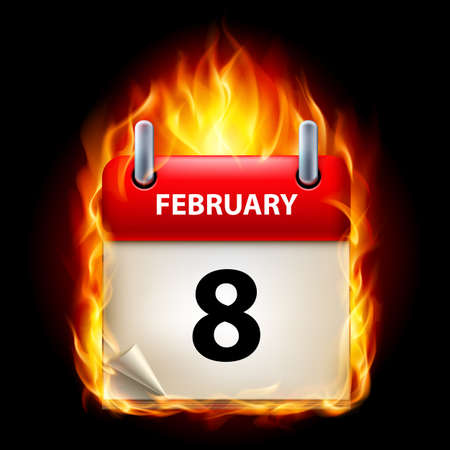 Eighth February in Calendar. Burning Icon on black background Stock Vector - 15136620