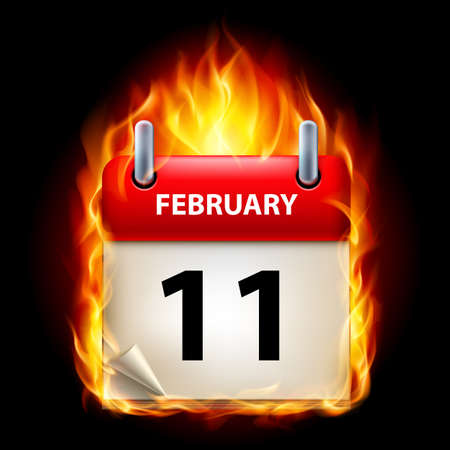 eleventh: Eleventh February in Calendar. Burning Icon on black background