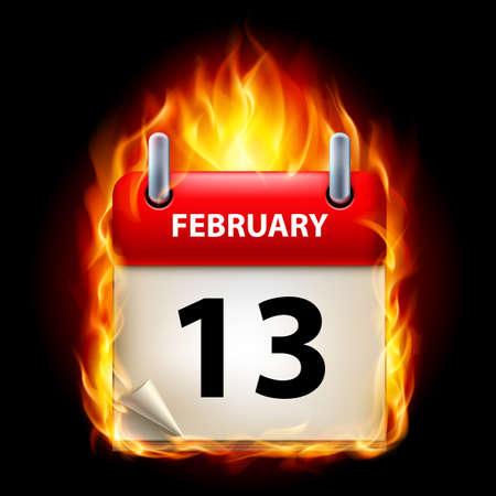 cutoff date: Thirteenth February in Calendar. Burning Icon on black background