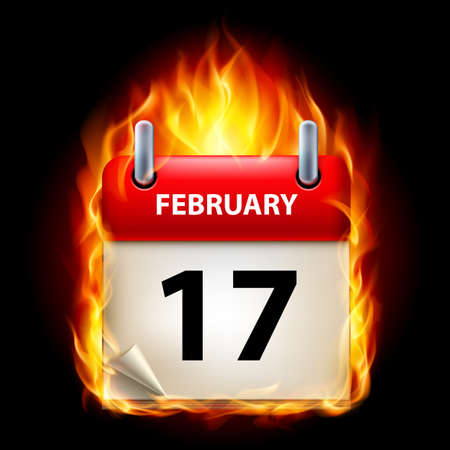 seventeenth: Seventeenth February in Calendar. Burning Icon on black background