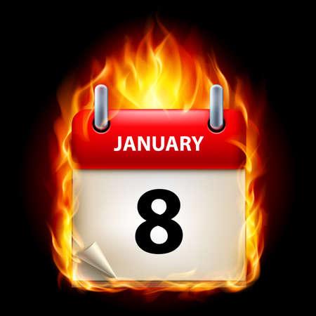 eighth: Eighth January in Calendar. Burning Icon on black background Illustration
