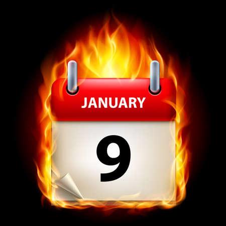 ninth: Ninth January in Calendar. Burning Icon on black background Illustration