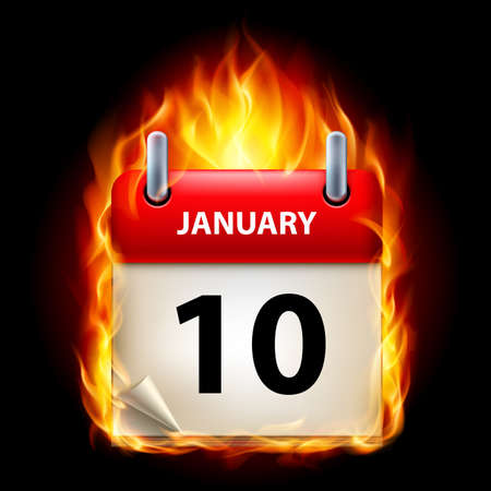 cutoff date: Tenth January in Calendar. Burning Icon on black background