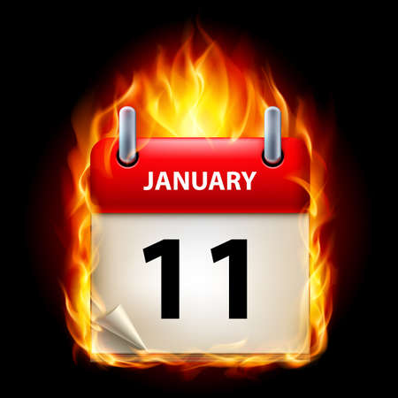 eleventh: Eleventh January in Calendar. Burning Icon on black background