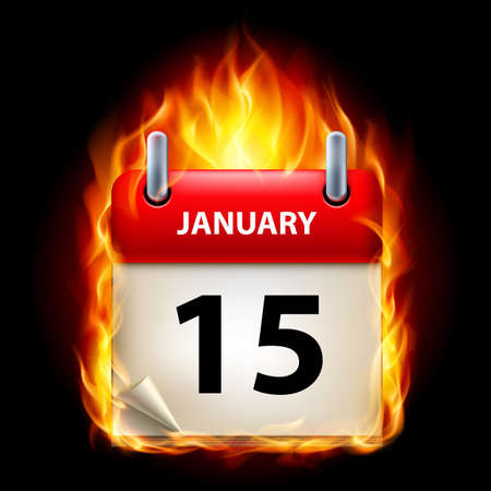cutoff date: Fifteenth January in Calendar. Burning Icon on black background