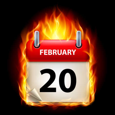 Twentieth February in Calendar. Burning Icon on black background Stock Vector - 15136588