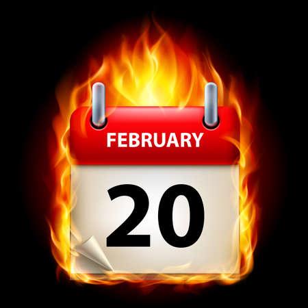 twentieth: Twentieth February in Calendar. Burning Icon on black background