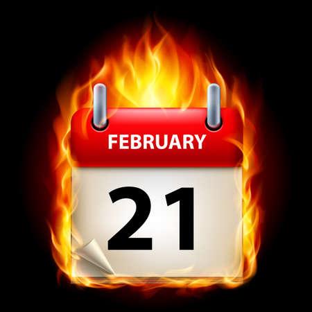 Twenty-first February in Calendar. Burning Icon on black background Stock Vector - 15136589