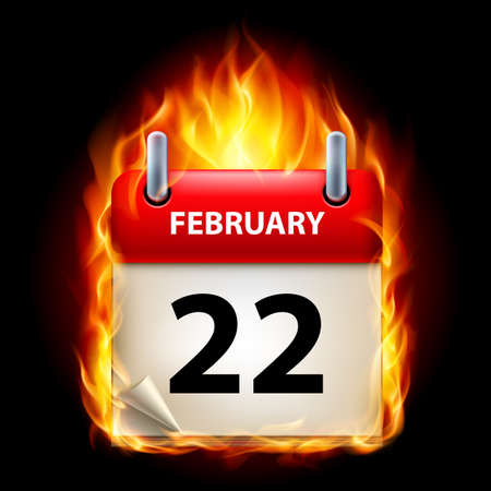 Twenty-second February in Calendar. Burning Icon on black background Stock Vector - 15136592
