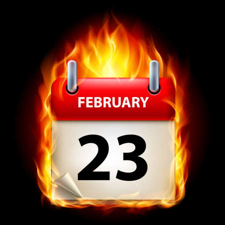 Twenty-third February in Calendar. Burning Icon on black background Stock Vector - 15136593