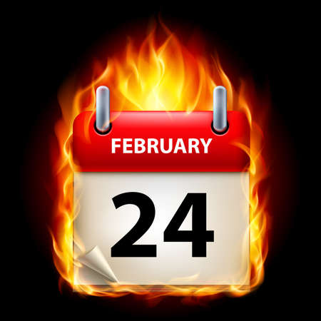 Twenty-fourth February in Calendar. Burning Icon on black background Stock Vector - 15136591
