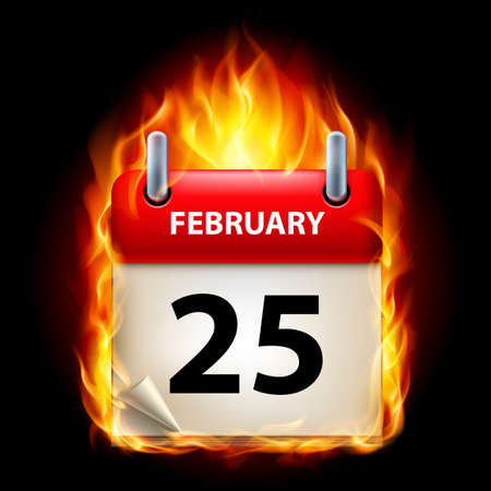 Twenty-fifth February in Calendar. Burning Icon on black background Stock Vector - 15136590