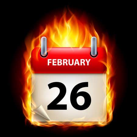 Twenty-sixth February in Calendar. Burning Icon on black background Stock Vector - 15136568