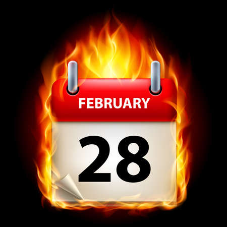Twenty-eighth February in Calendar. Burning Icon on black background Stock Vector - 15136566
