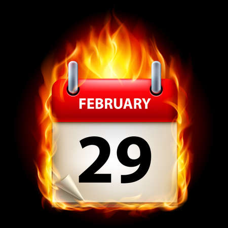Twenty-ninth February in Calendar. Burning Icon on black background Stock Vector - 15136563
