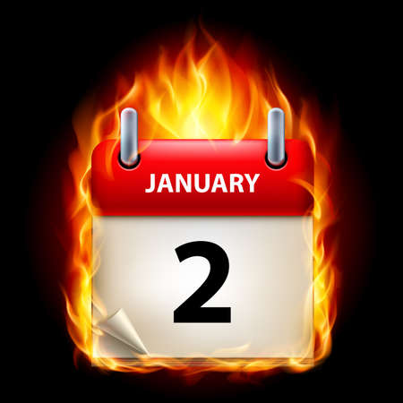 cutoff date: Second January in Calendar. Burning Icon on black background Illustration