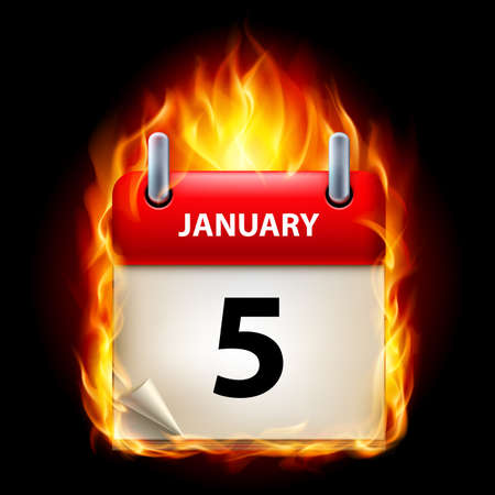 cutoff date: Fifth January in Calendar. Burning Icon on black background
