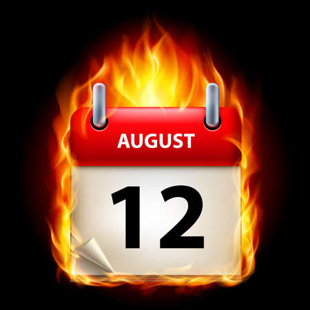Twelfth August in Calendar. Burning Icon on black background Illustration