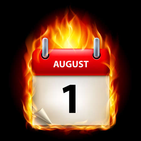 First August in Calendar. Burning Icon on black background Vector
