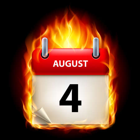 aug: Fourth August in Calendar. Burning Icon on black background
