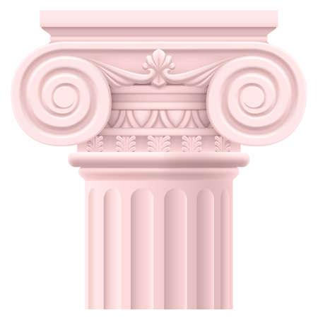 escultura romana: Pink columna romana. Ilustraci�n sobre fondo blanco para el dise�o