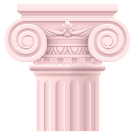 márvány: Pink római oszlop. Illusztráció fehér háttér kialakítása Illusztráció