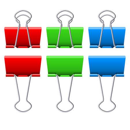 Color binder clips. Illustration on white background Illustration