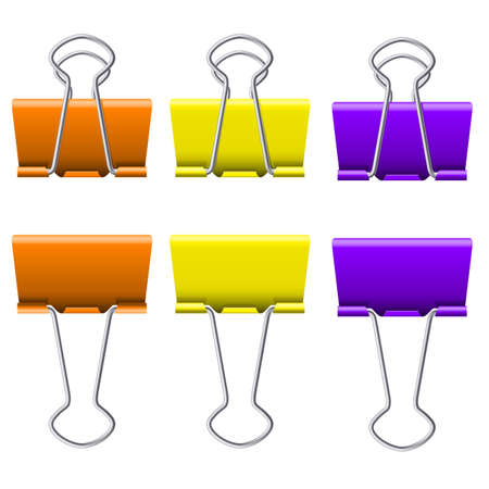 Color binder clips. Illustration on white background for design Vector