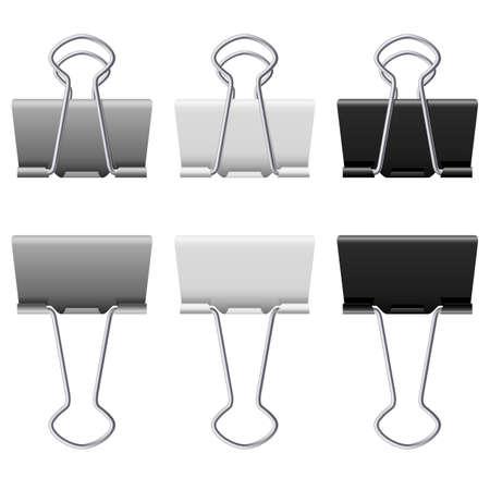 Gray bindmiddel clips. Illustratie op witte achtergrond