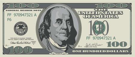valuta: Száz dollár. Illusztráció elszigetelt fehér háttér Illusztráció