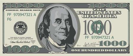빚: 가짜 천 달러. 디자인에 대 한 그림