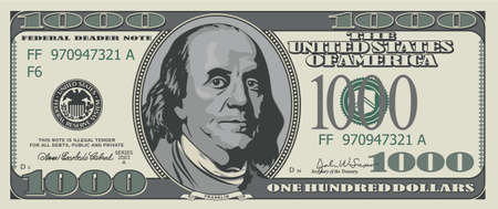 us dollar bill: Fake one thousand dollars. Illustration for design