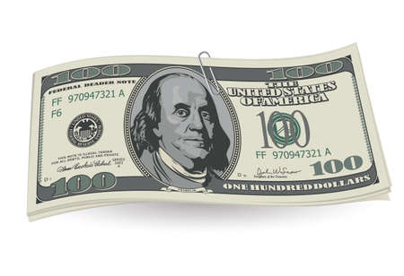 hundred dollar bill: Dollars with clip on white background. Illustration for design