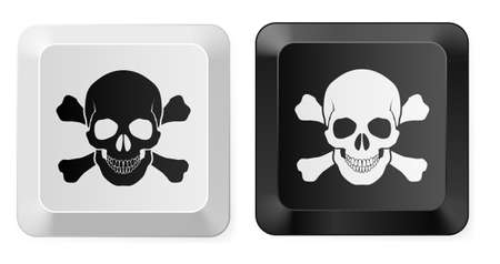 hackers: Black and White Skull button. Illustration for design