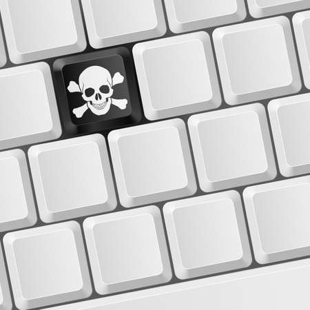 computer attack: Keyboard with Skull button. Illustration for design