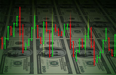 Exchange chart on dollars background. Illustration for design Vector