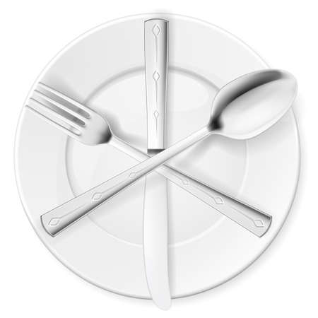 flatwares: Crossed fork, spoon and knife on white plate Illustration