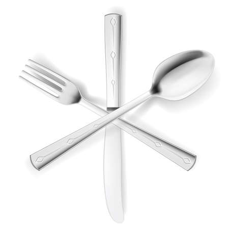 Crossed fork, spoon and knife. Illustration on white Stock Vector - 15495177