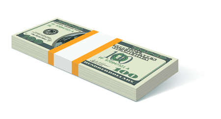 Stack of United States US one hundred dollars Vector