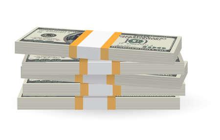 Ilustración de los billetes de dinero apilar más de fondo blanco Ilustración de vector