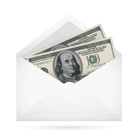 bribe: Open envelope containing dollar banknotes on a white background Illustration