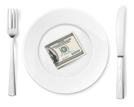 barter: Dollars on food plate with fork and knife